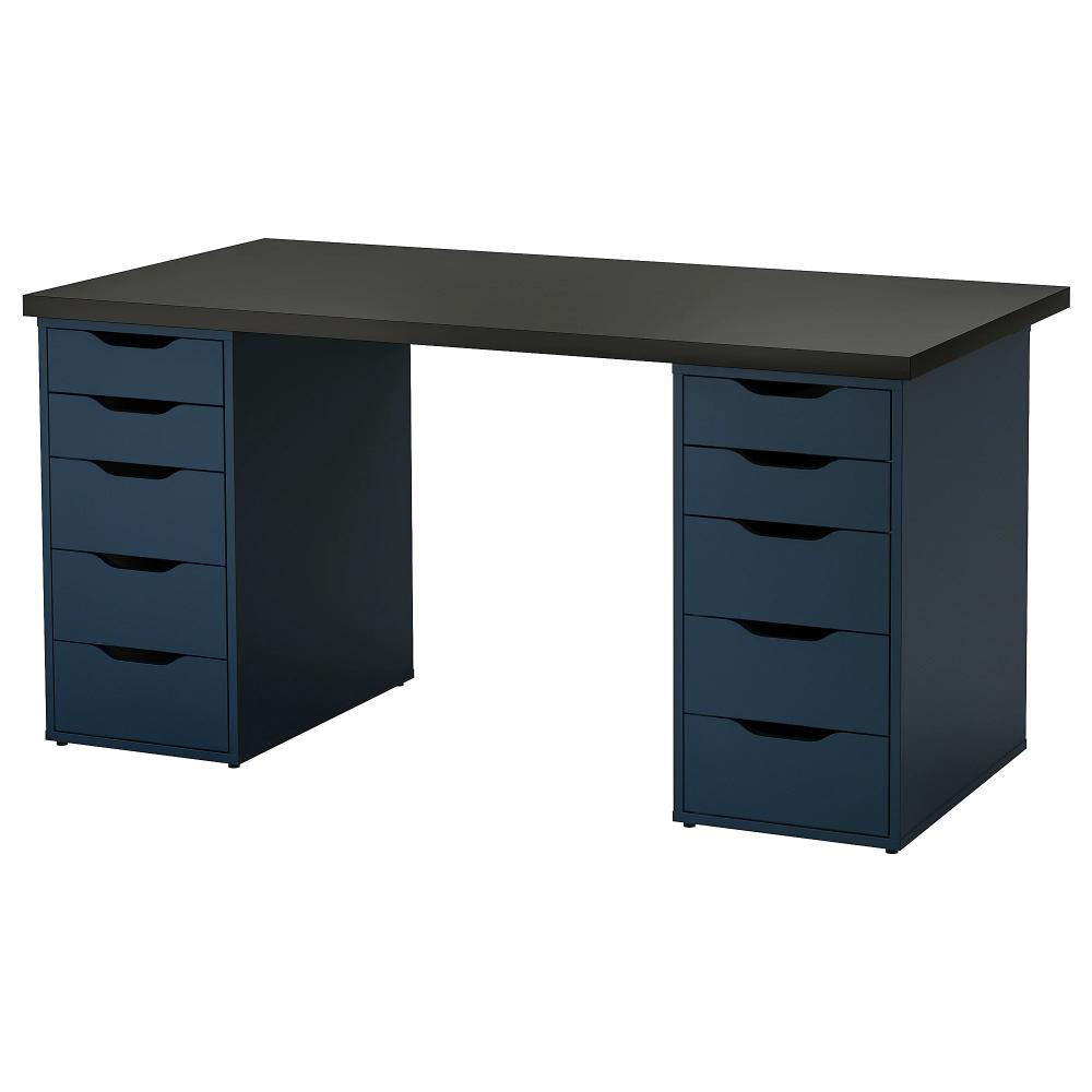 Linnmon Alex Black Brown Blue Table 150x75 Cm Height 73 Cm Ikea Ikea Drawer Unit Black Desk