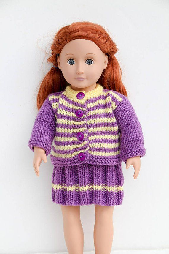 b592355ab9 Purple Hand Knit Set for 18 Inch Fashion Doll - Handmade Striped Sweater  and Skirt in Purple and Yel