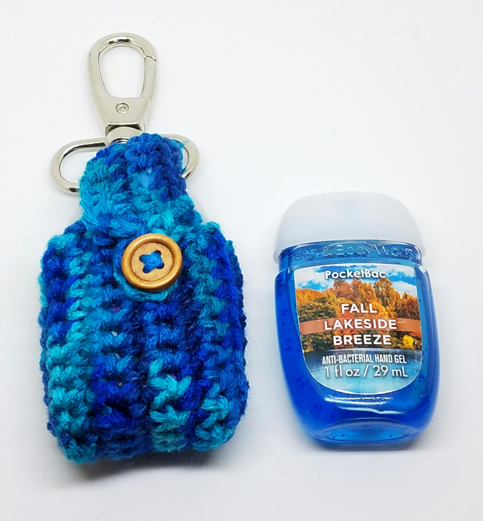 Crochet Peacock Hand Sanitizer Clip Sully Pocketbac Holder