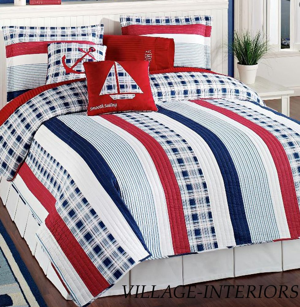 4pc Twin Quilt Set Nautical Red White Blue Stripe Cotton Quilt Sham Pillows Americananautical Nautical Bedding Nautical Bedding Sets Nautical Decor Bedroom