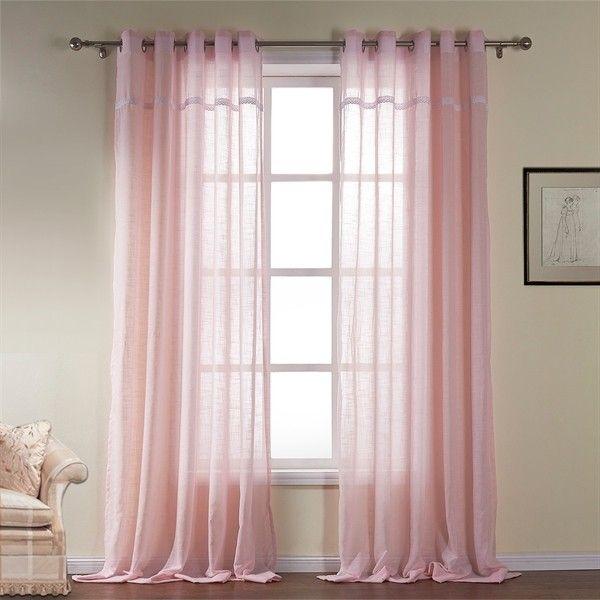 One Panel Modern Light Pink Solid Pattern Cotton Sheer Curtai