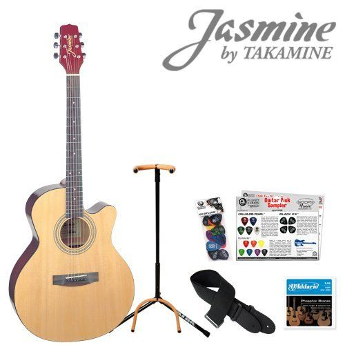 Jasmine By Takamine S34c Acoustic Guitar Start Up Pack With Guitar Strap Strings Guitar Stand And Picks By Takamine 109 98 Guitar Stand Guitar Guitar Strap