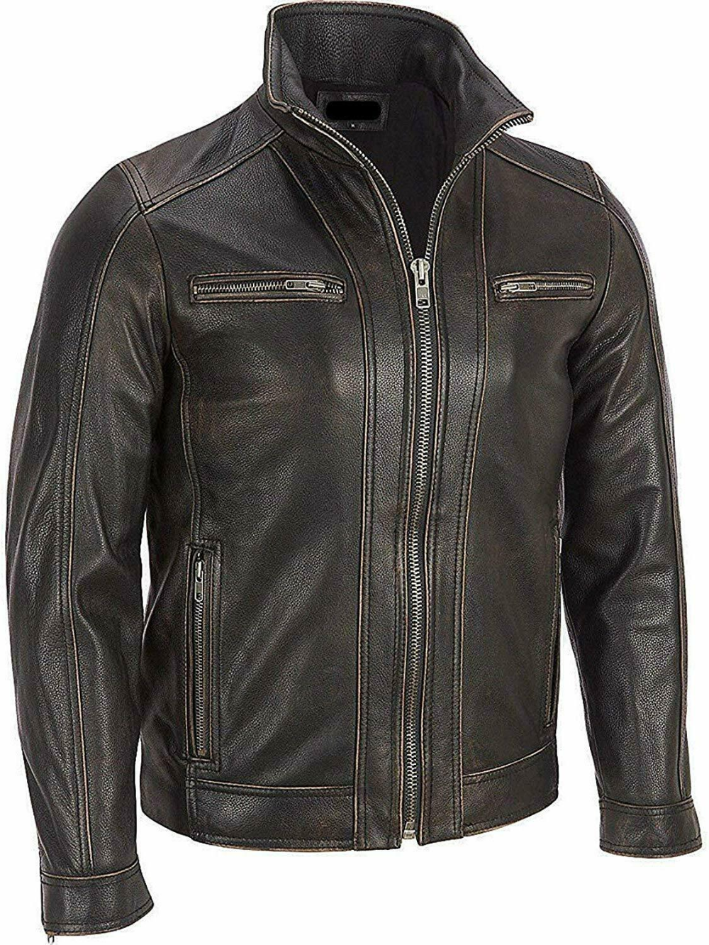 Details about Men's Black Rivet Leather Faded Seam Cycle