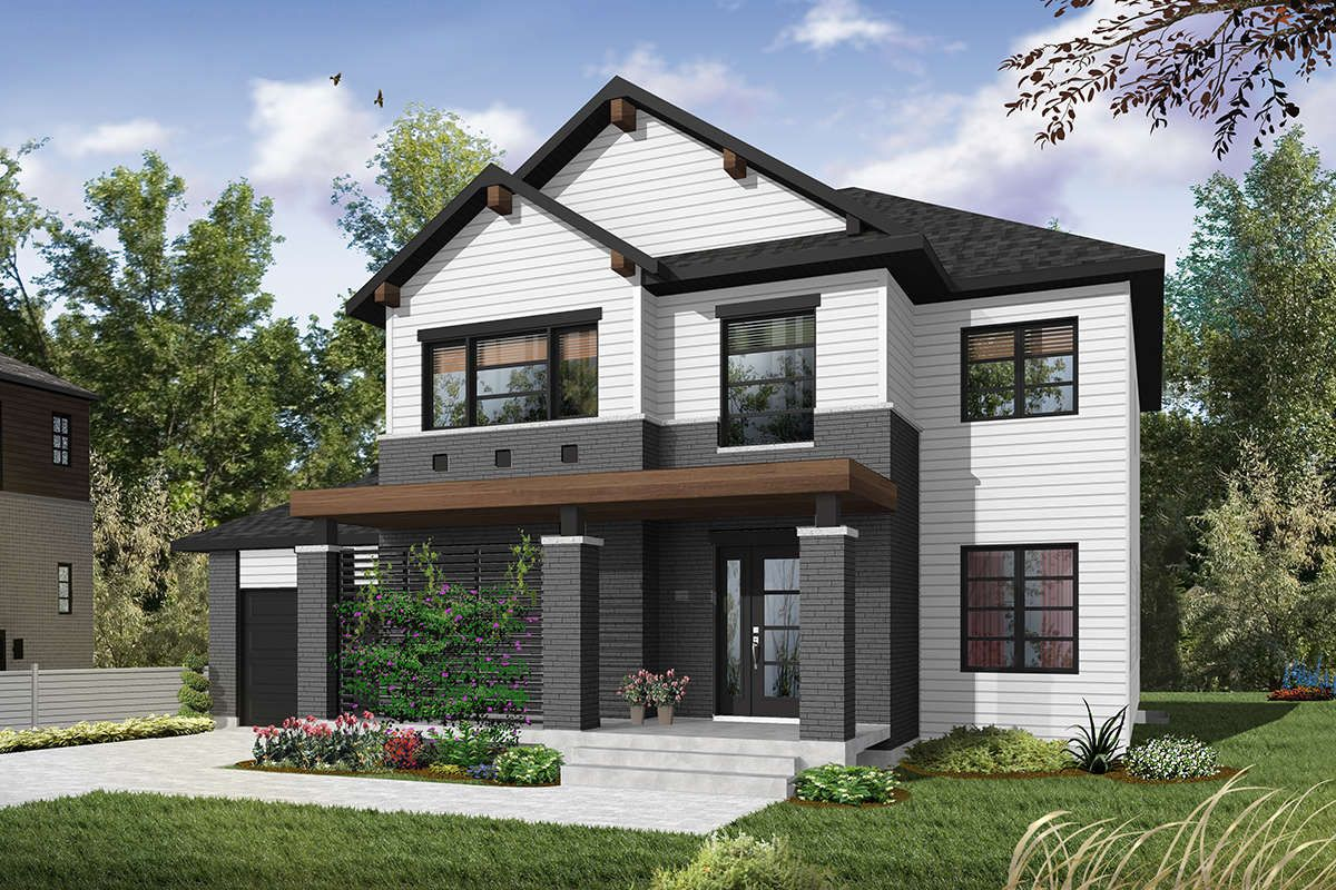 House Plan 034 01105 Modern Plan 2 038 Square Feet 4 Bedrooms 3 Bathrooms Farmhouse Style House Plans Contemporary House Plans Contemporary House Exterior