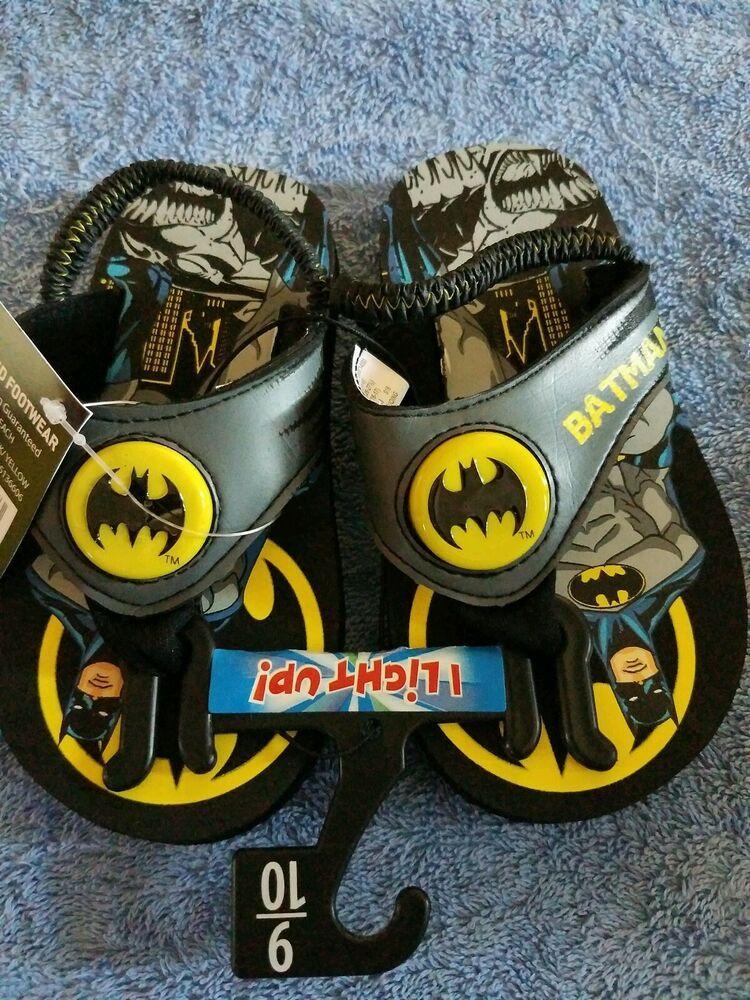 NEW Batman Boys Toddler Flip Flop Light