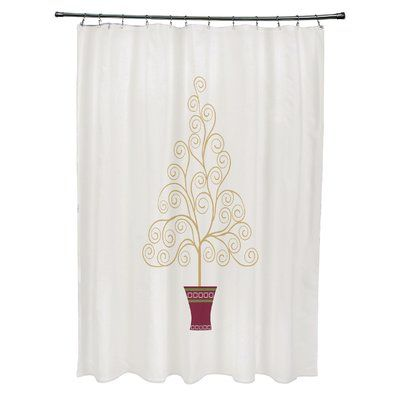 The Holiday Aisle Filigree Tree Single Shower Curtain Color Off