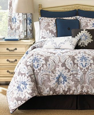 Waterford Emerson Comforter Set Off White Chocolate Brown And