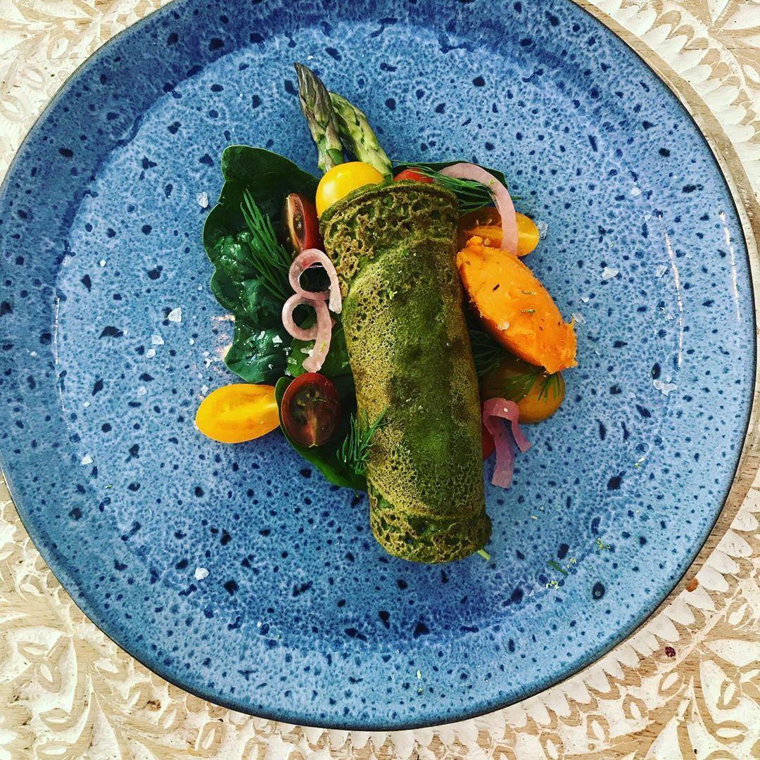 Vegan Buckwheat pancake with asparagos at
