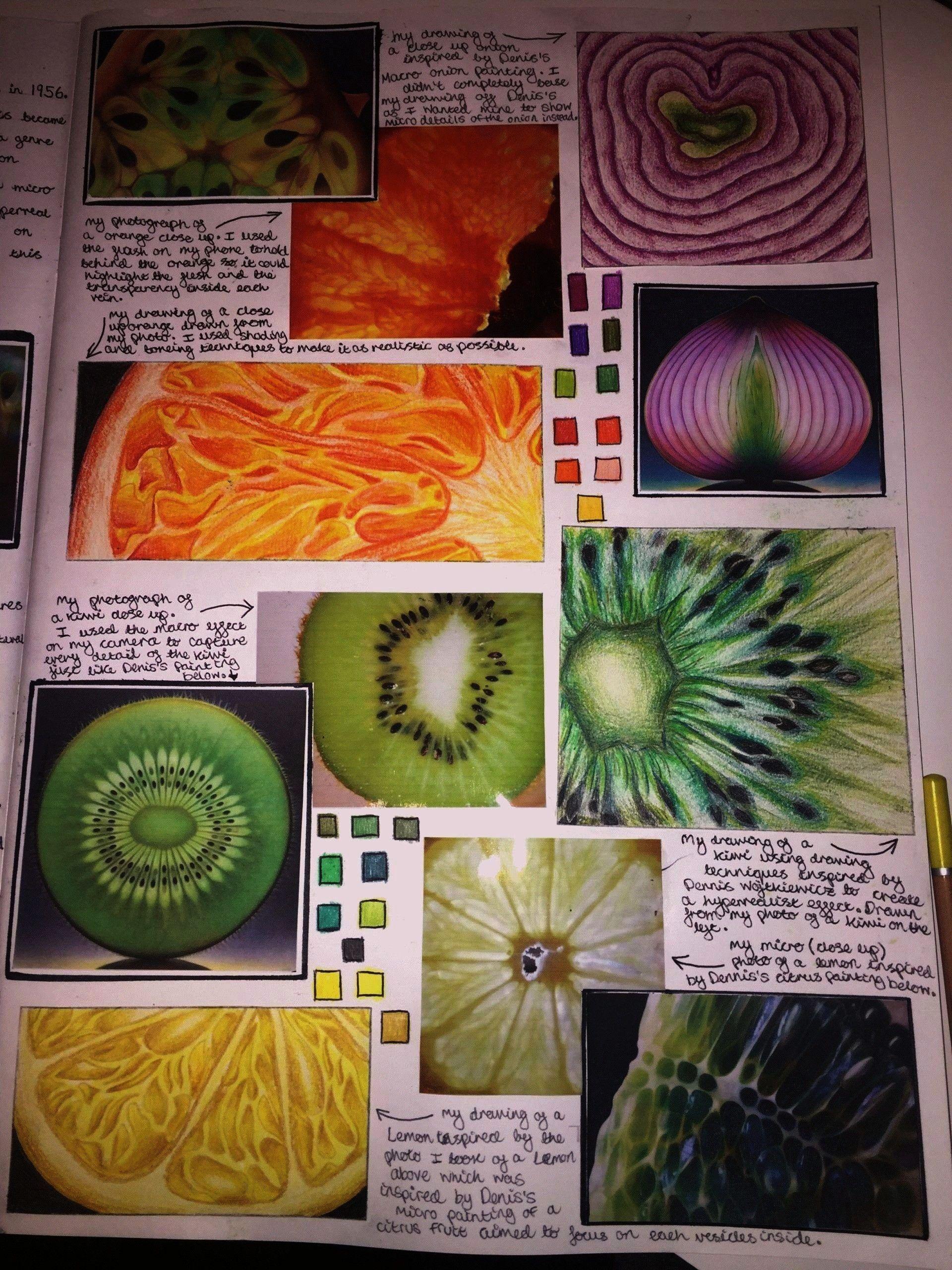guashe  A Level Art Sketchbook Fruit studies in guashe  A Level Art Sketchbook  Art and photography analysis sheet for Alevel or GT GCSE Art Vocab Bank and Sentence Start...