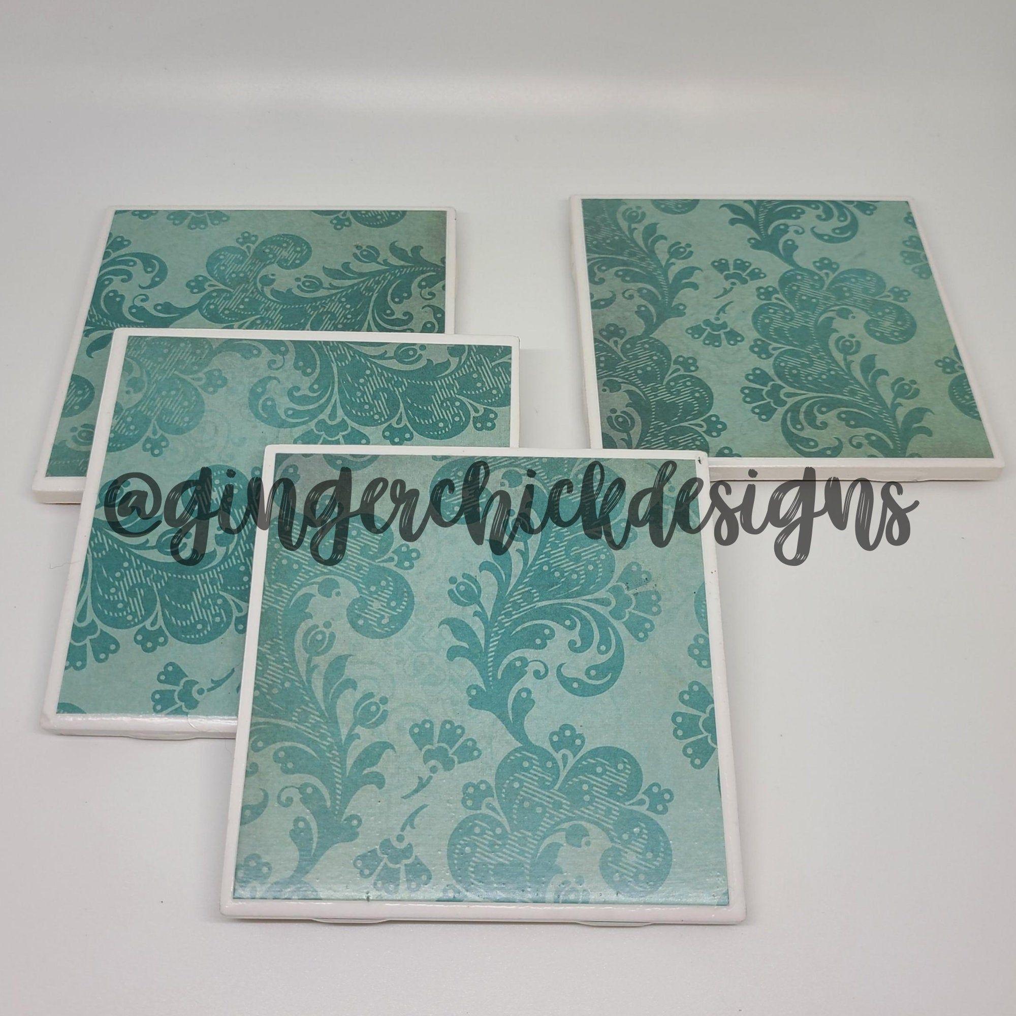 Teal Damask Ceramic Tile Coasters Ceramic Coaster Set Tile Etsy Ceramic Tile Coaster Handmade Coasters Cool Coasters