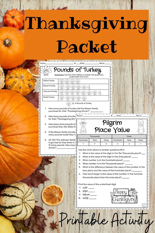 Thanksgiving Break 4th Grade Math Fall Packet No Prep Printable In 2020 Thanksgiving Break Thanksgiving Math Math Packets