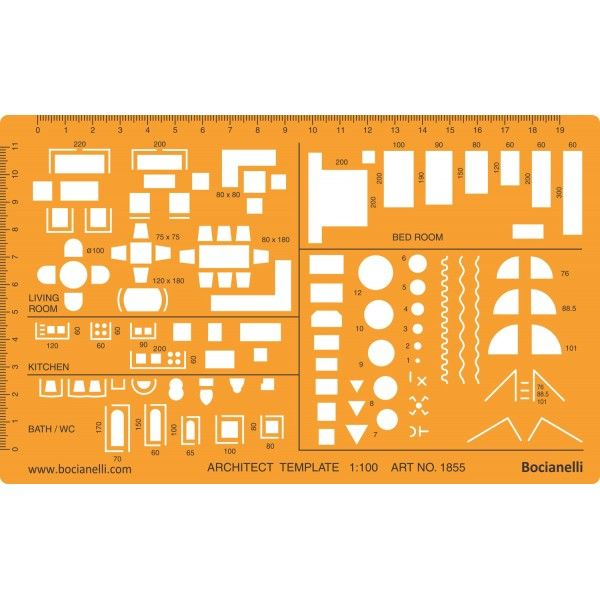 Architect Symbols Design Template Stencil for Technical Drawing and