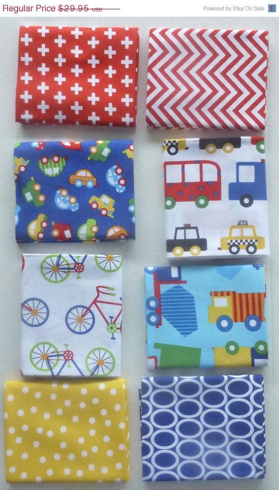 MEMORIAL SALE - Cotton Fabric, Craft, Quilt, Fat Quarter Bundle of 8 Plus Panel, Ready,Set, Go~Kaufman, Fast Shipping FQ242