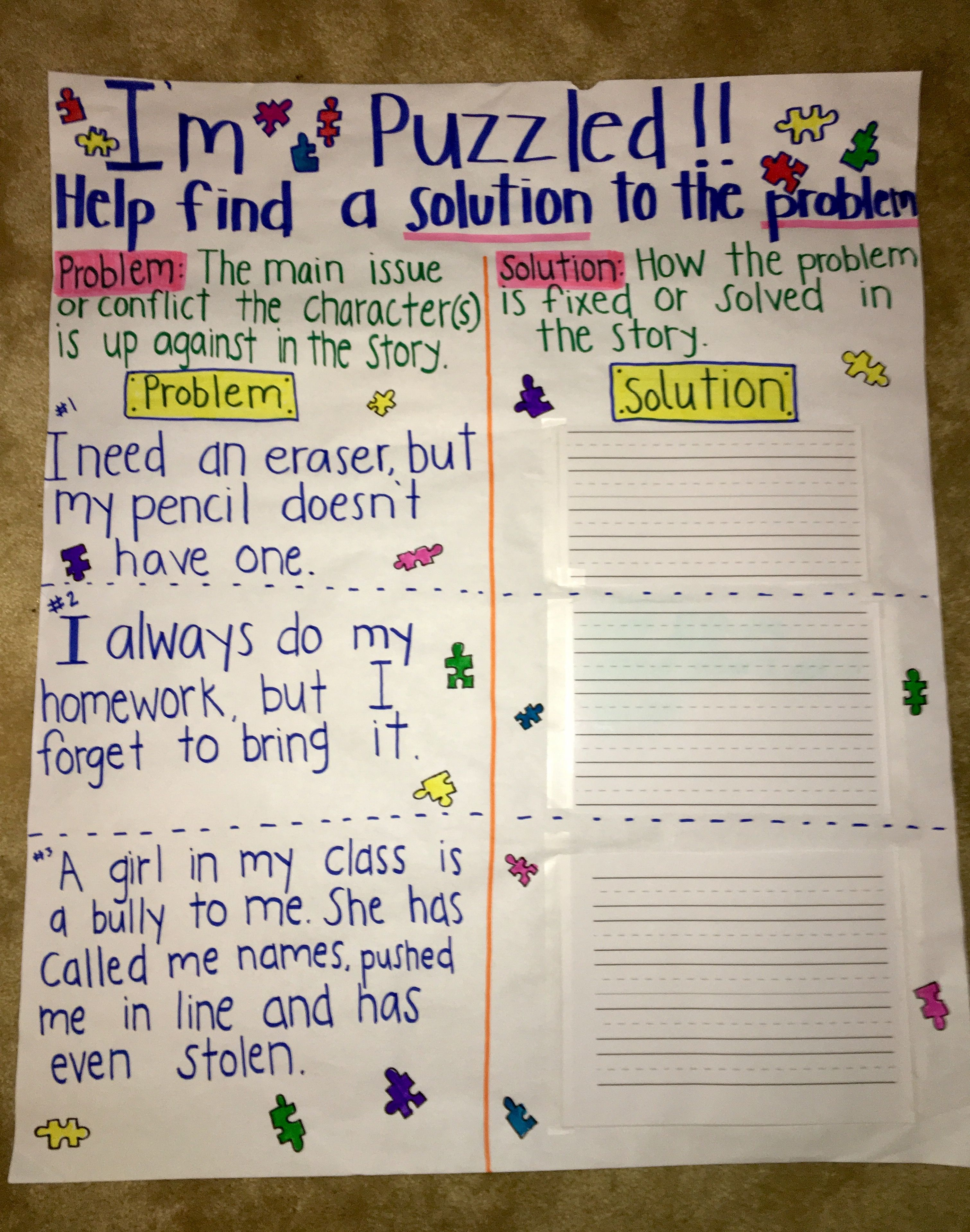 Problem Solution Anchor Chart Problem Solution Anchor Chart Problem Solution Activities Problem And Solution