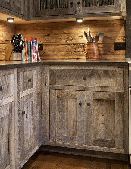 Barn wood cabinets on pinterest barn siding barn wood for Making old kitchen cabinets look modern
