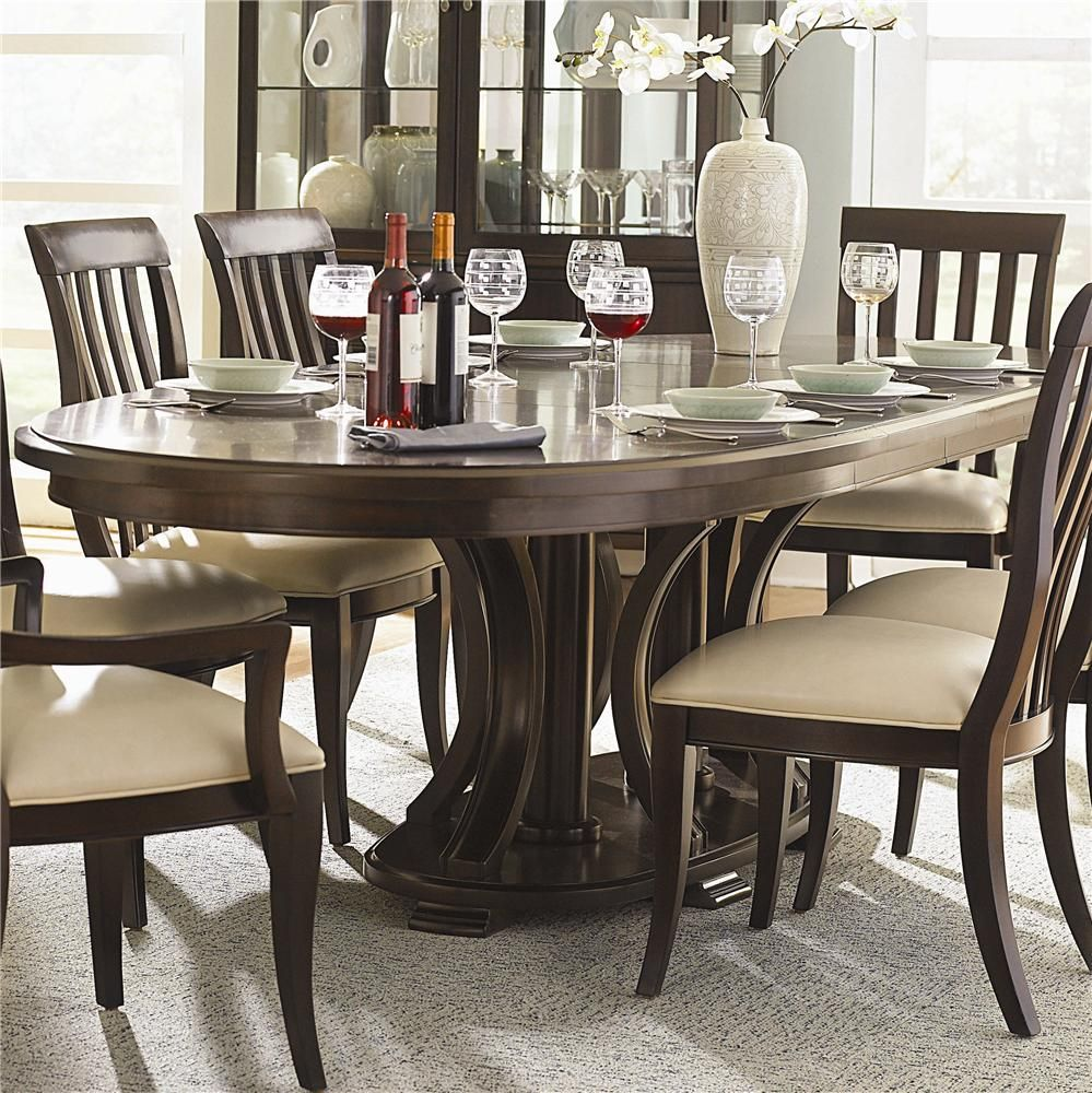 Bernhardt Westwood Oval Double Pedestal Dining Table With Leaves