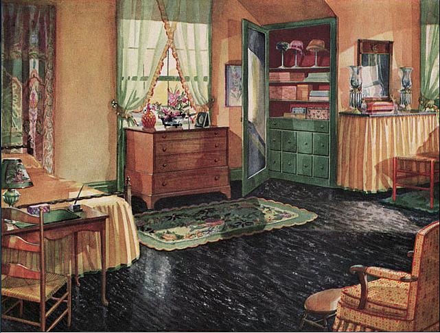 1920s Bedroom With Black Linoleum Floor Design I Love