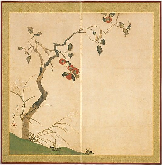 The Persimmon Tree Sakai Hôitsu (Japanese, 1761–1828) Period: Edo period (1615–1868) Date: 1816 Culture: Japan Medium: Two-panel folding screen; ink and color on paper