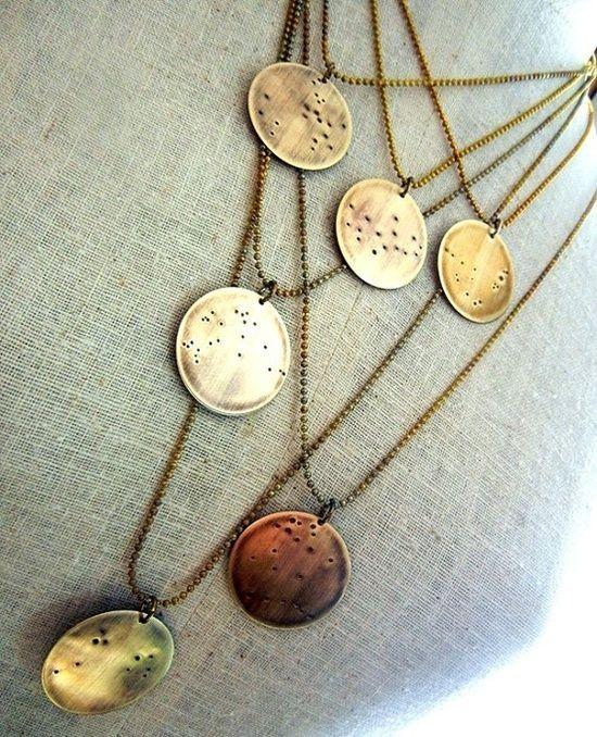 Brass constellation layered necklaces