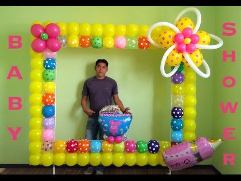 Marco para fotos con globos para baby shower youtube - Decoracion de marcos para fotos ...