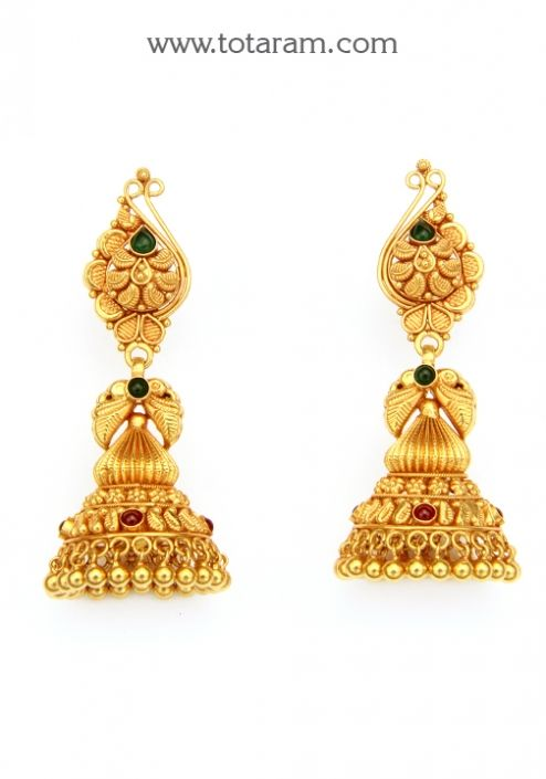 Temple Jewellery - 22K Gold 'Peacock' Jhumkas - 22K Gold ...