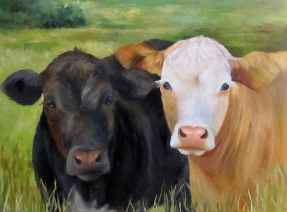 Large Cow Art Painting Ms Charity And Ms Grace 30x40 Canvas Original Animal Painting By Cheri Wollenberg Cow Art Original Animal Painting Farm Art