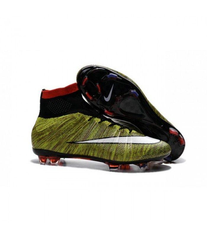 Acheter Nouveau Chaussure de Football Nike Mercurial Superfly CR FG Volt Noir  Blanc Multicolore pas cher
