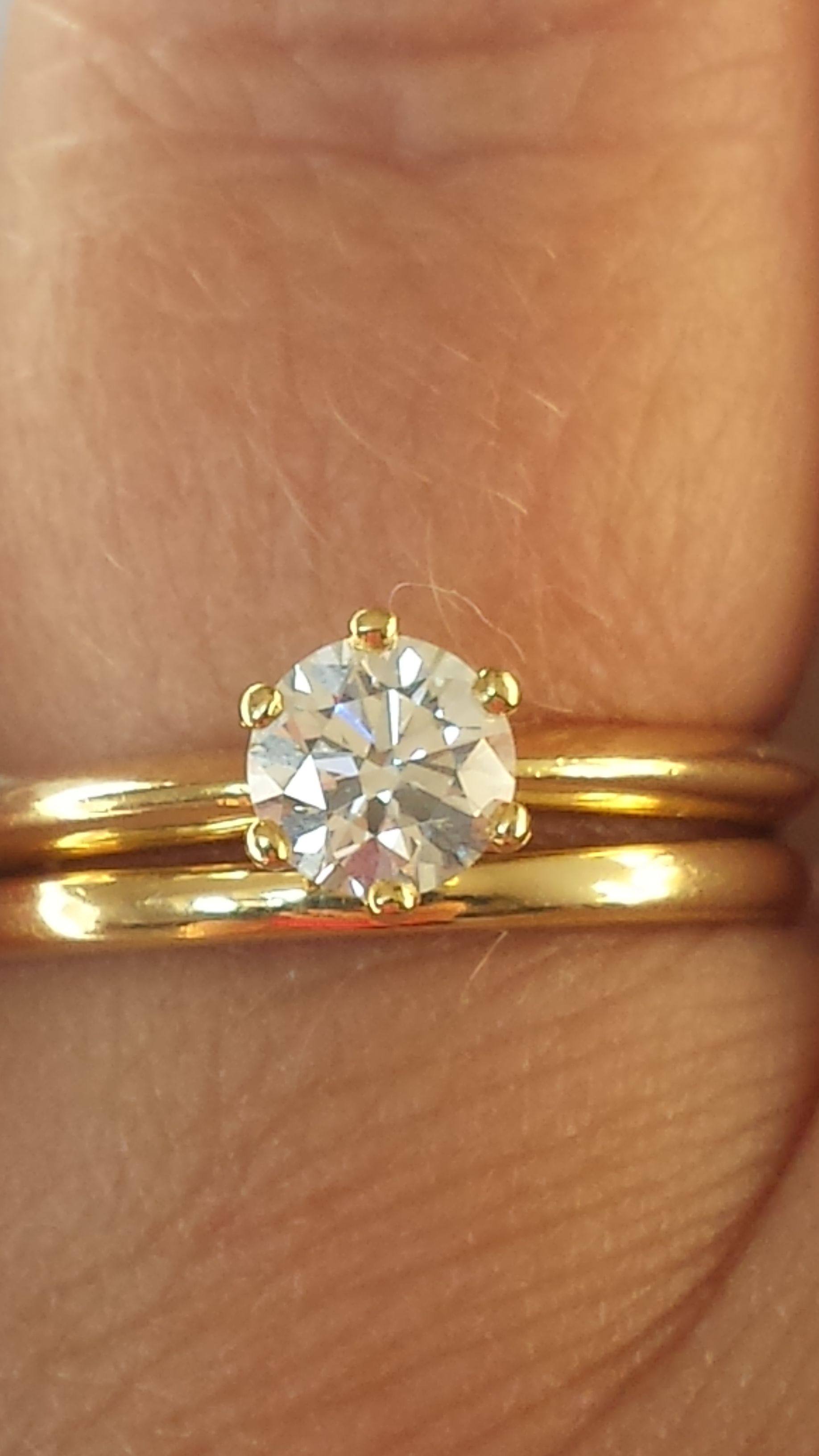 gorgeous pin yellow band solid vintage o e bands in v engagement wedding ring diamond gold stone l