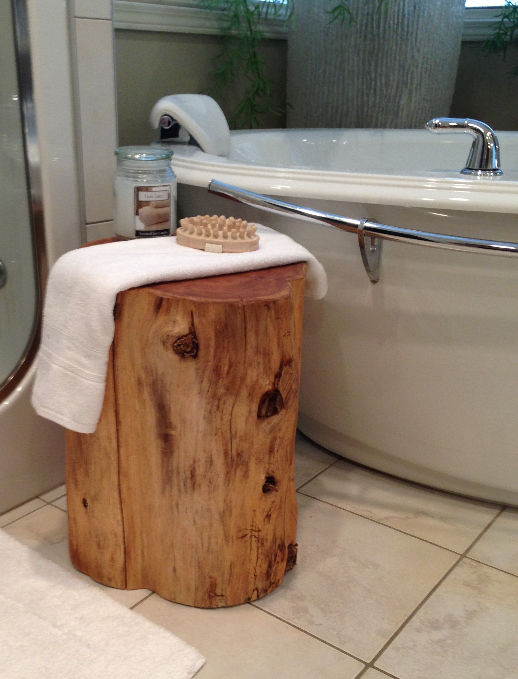 Cedar Stump End Table in bathroom spa (Diy Bathroom Tub)