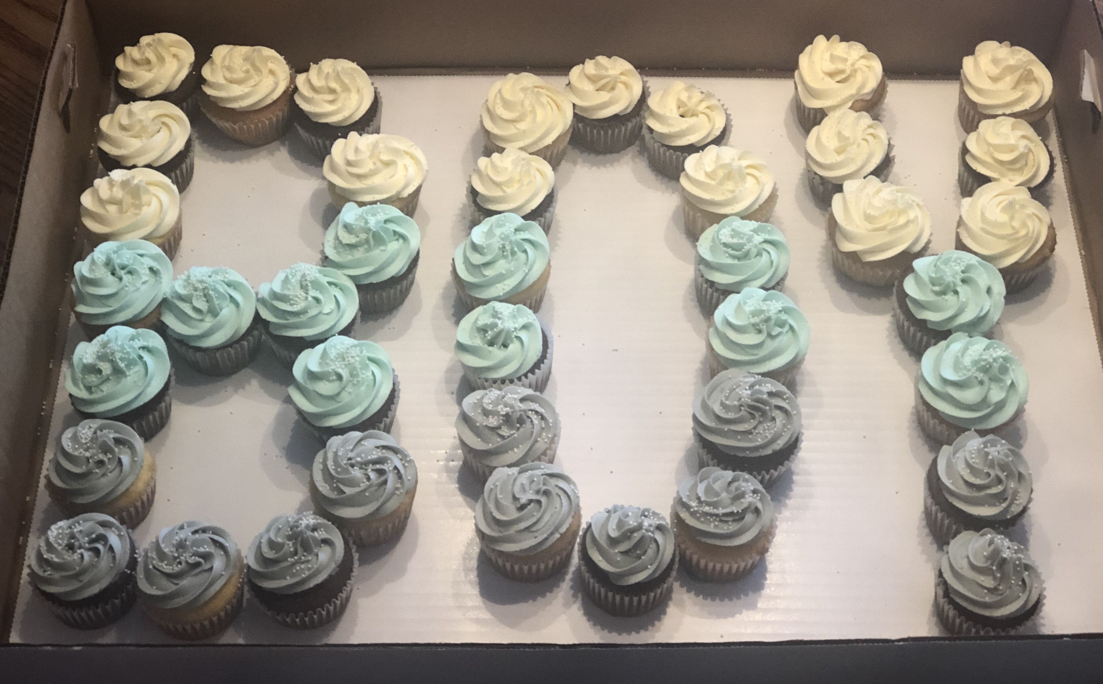 White Blue Gray Cupcake Cake For A Baby Shower I Made Blue