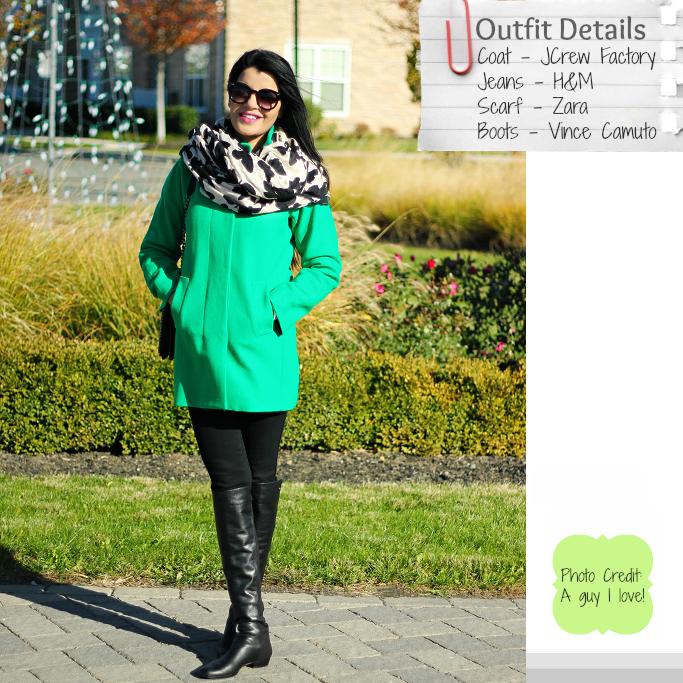 Green Knee Length Coat