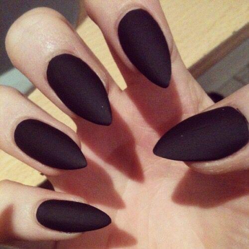 Black Pointed Fingernails Pointed Nails Matte Stiletto Nails Fake Nails