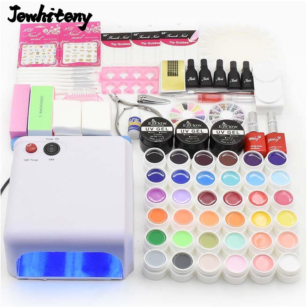 nail set 36W UV lamp nail dryer & 36 colors nail gel polish base gel ...