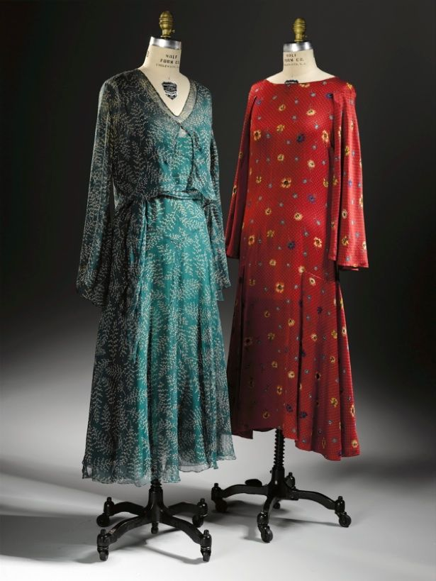 Two 1928 dresses by Natacha Rambova. The late afternoon ensemble (left) of sheer green chiffon is imprinted with a beige maidenhair fern leaf pattern. The sleeveless dress is bias cut and geometrically pieced at the waistline, reflecting a contemporary design aesthetic.  It belonged to the actress Beulah Bondi.
