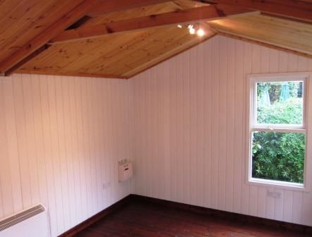 summerhouse interior walls insulated and lined with water resistant rh pinterest co uk Typical House Wiring Circuits wiring up a summer house
