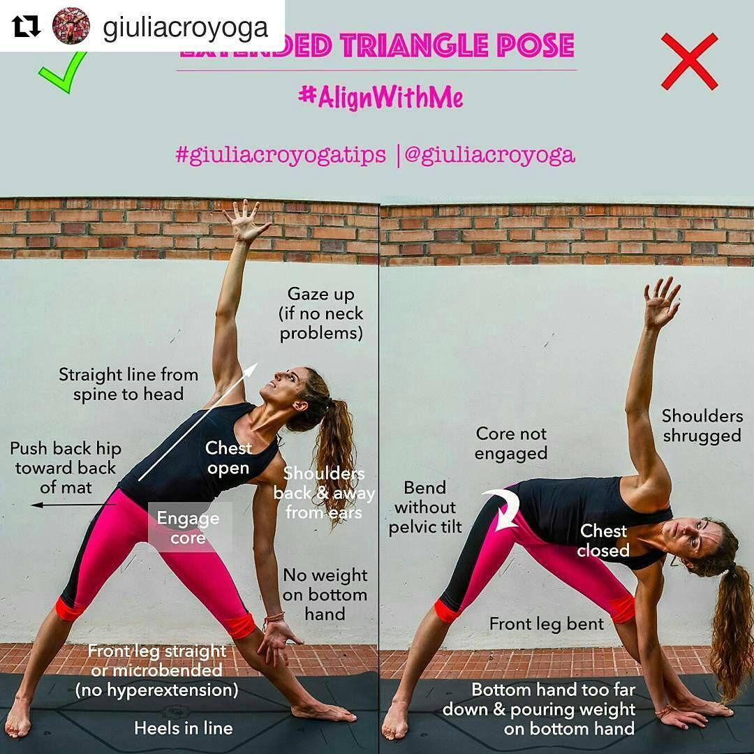 Yoga Alignment Tips Tutorials On Instagram Utthita Trikonasana Extended Triangle Pose Or Extended Three Corners Pose On Triangle Pose Yoga Neck Problems