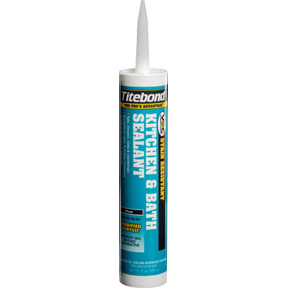 Mildew and stain resistant seal for kitchen and bath areas! We use Titebond's Kitchen & Bath Sealant around tubs, showers, sinks, and especially countertops since it's food-safe!