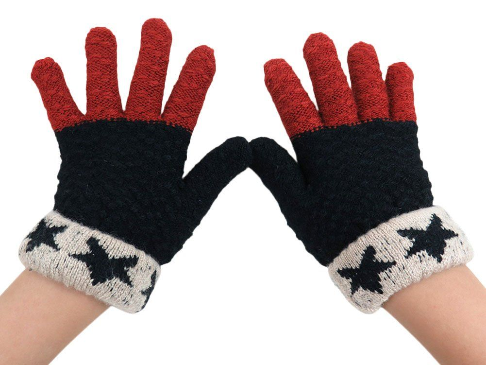 """X&F Little Boys and Girls Stars Patchwork Full Finger Mittens Kids Warm Gloves Black. One Size: length 5.5""""/14cm, suitable for 4-9 years old kids. Soft, warm and comfortable fabric. It keeps warm well in winter with velvet inside. Bright mixed colors and delicate workmanship. Cute knitted stars suitable for little boys and girls as well."""