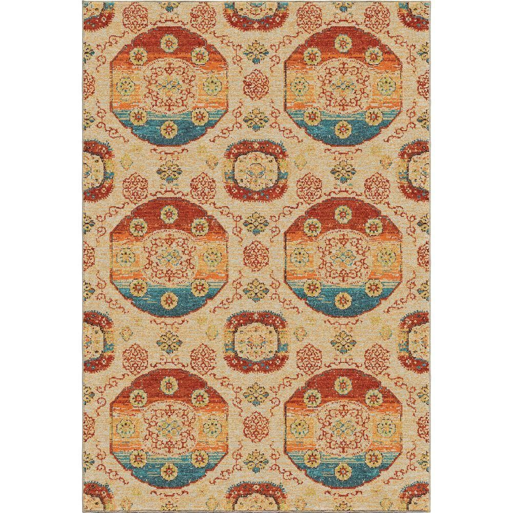 Danling Beige Medallions Bright Colors