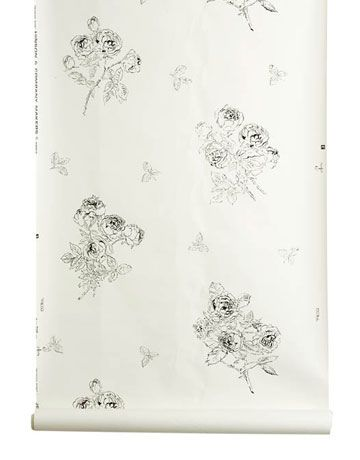 Hinson Wallpaper albert hadley reddish rose in black on white hinson & company