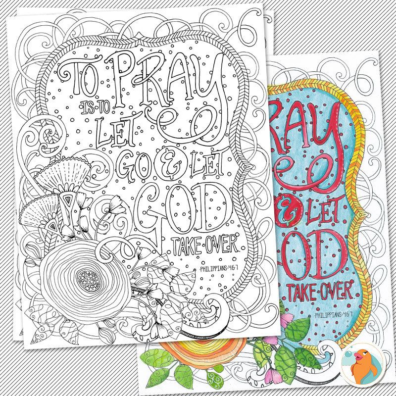 Bible Coloring Page Printable Diy To Pray Is To Let Go Let God