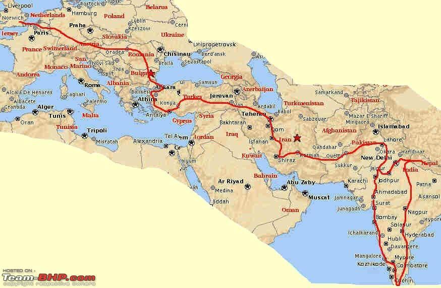 travel route map London to Kathmandu via India Travel Route Maps