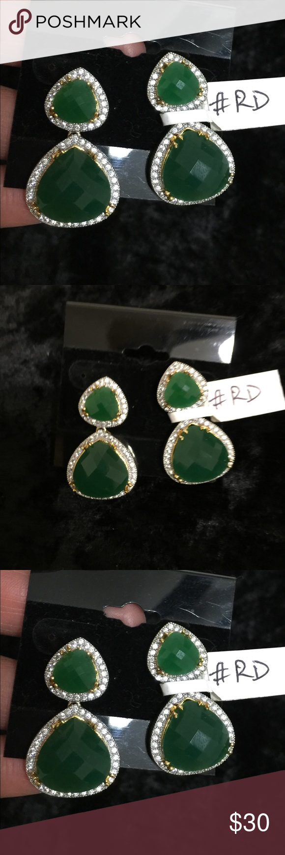 EARRINGS!! Beautiful green colored lab created stone DROP earrings ...