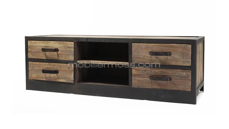 meuble tv caruso 4 tiroirs style industriel en bois et m tal bureau meubles et projet. Black Bedroom Furniture Sets. Home Design Ideas