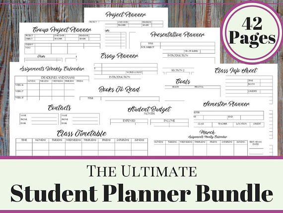 College Student Printable Planner  Back To School