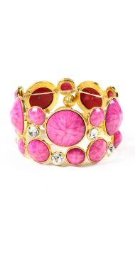 Amrita Singh Fuschia Stone & Crystal stretch bracelet | stylebug.com