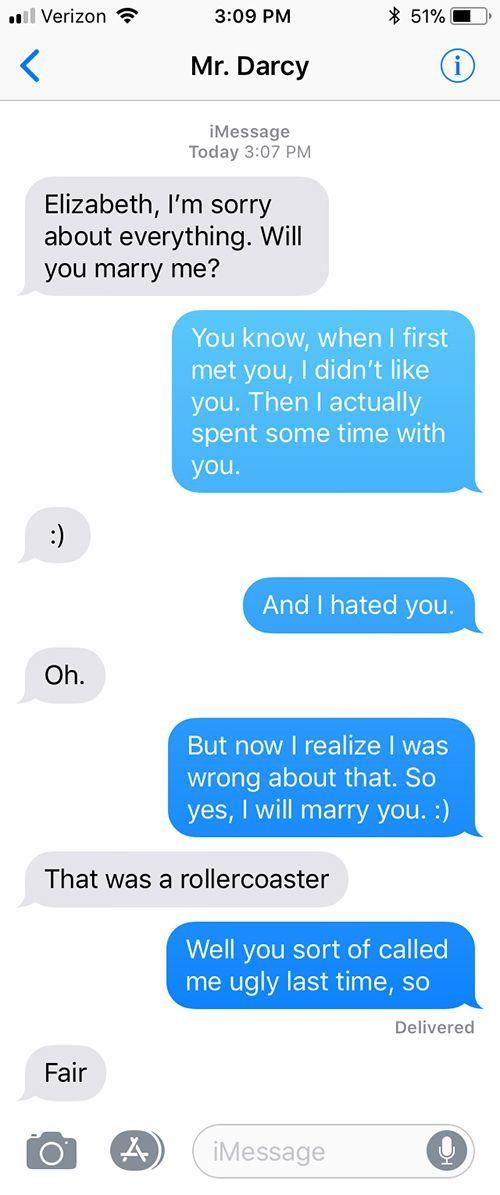 SparkLife » Pride and Prejudice As Told in a Series of Texts #prideandprejudice