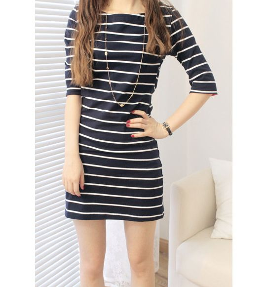 Half Sleeves Preppy Style Stripe Color Block Polyester Dress For Women (DEEP BLUE,ONE SIZE) | Sammydress.com