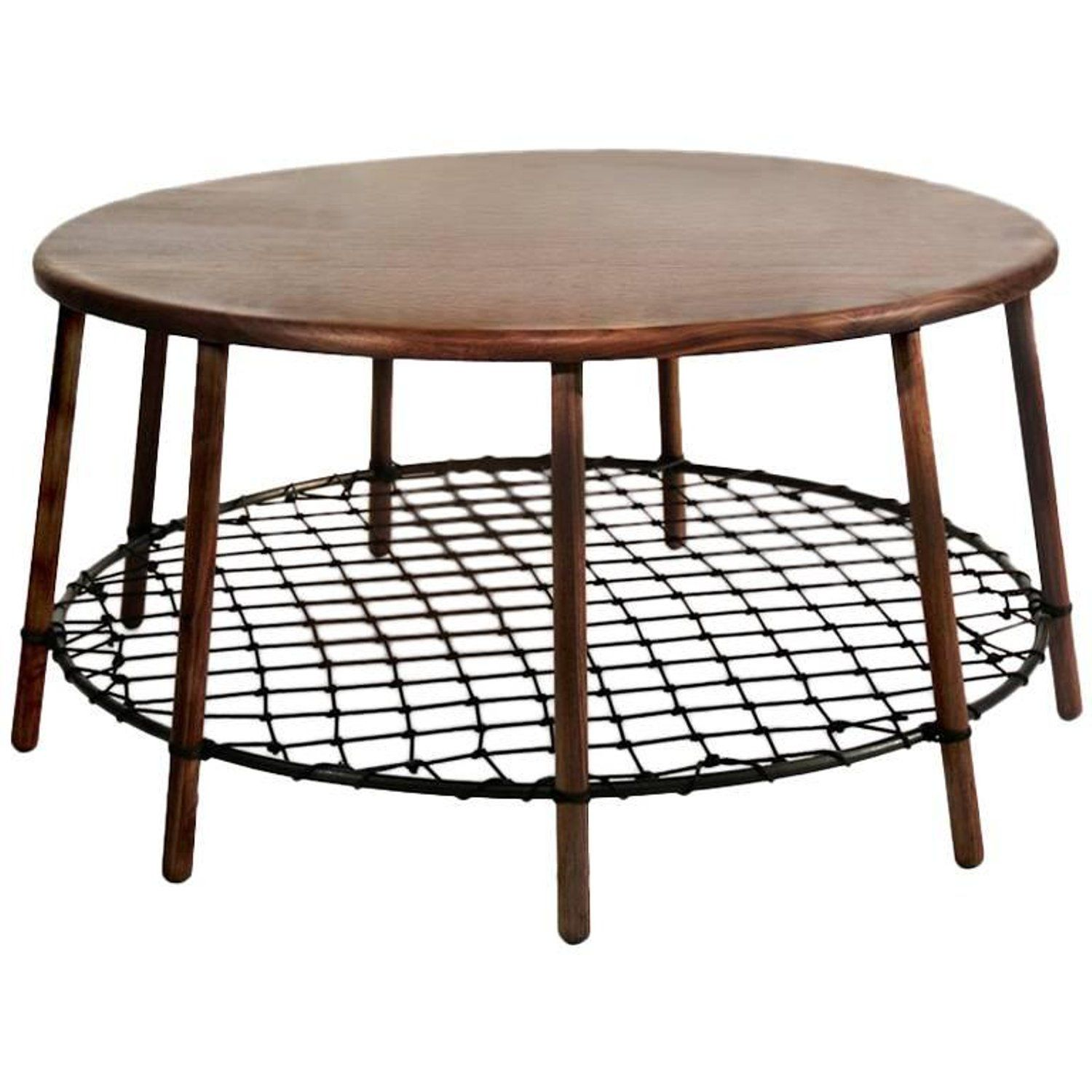 Side Table In Solid American Walnut With Steel Ring And Netting Walnut Coffee Table Small Coffee Table Large Coffee Tables
