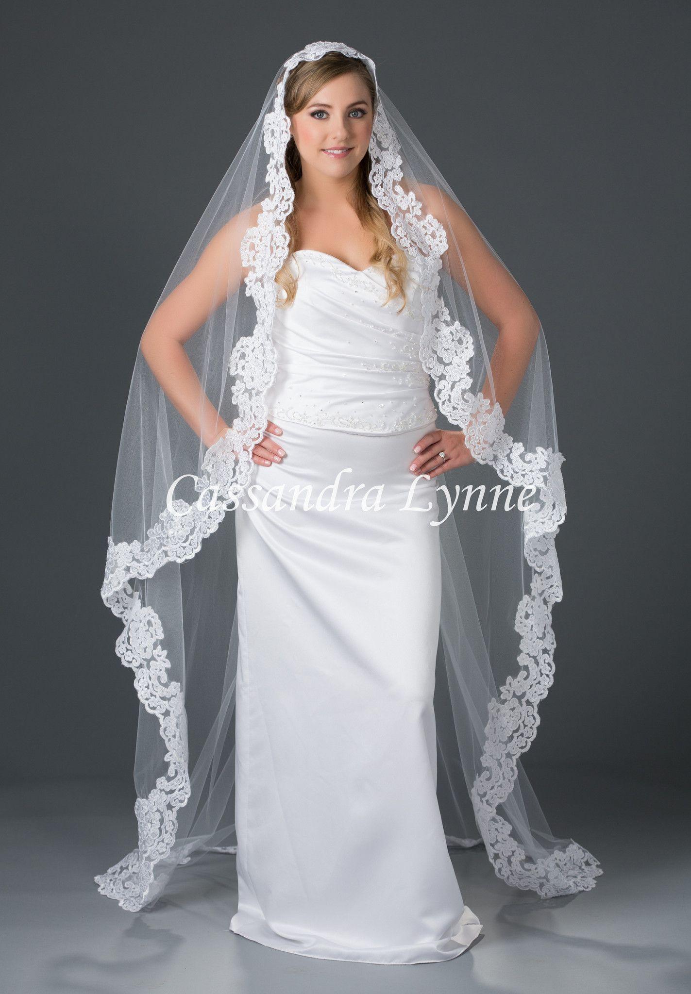 mantilla wedding veil with floral lace floor length | veil
